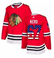Mens Adidas Chicago Blackhawks 67 Tanner Kero Authentic Red USA Flag Fashion NHL Jersey
