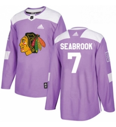Mens Adidas Chicago Blackhawks 7 Brent Seabrook Authentic Purple Fights Cancer Practice NHL Jersey
