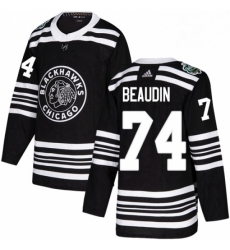 Mens Adidas Chicago Blackhawks 74 Nicolas Beaudin Authentic Black 2019 Winter Classic NHL Jerse
