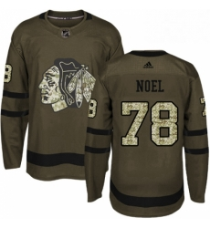 Mens Adidas Chicago Blackhawks 78 Nathan Noel Authentic Green Salute to Service NHL Jersey