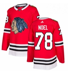 Mens Adidas Chicago Blackhawks 78 Nathan Noel Authentic Red Fashion Gold NHL Jersey