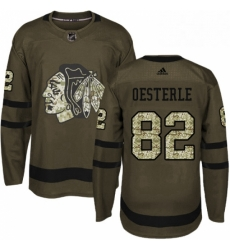 Mens Adidas Chicago Blackhawks 82 Jordan Oesterle Authentic Green Salute to Service NHL Jersey