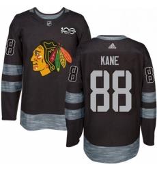 Mens Adidas Chicago Blackhawks 88 Patrick Kane Authentic Black 1917 2017 100th Anniversary NHL Jersey