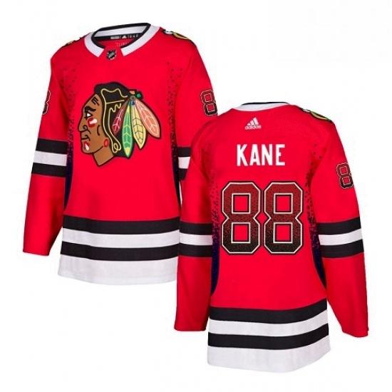 Mens Adidas Chicago Blackhawks 88 Patrick Kane Authentic Red Drift Fashion NHL Jersey