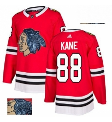 Mens Adidas Chicago Blackhawks 88 Patrick Kane Authentic Red Fashion Gold NHL Jersey