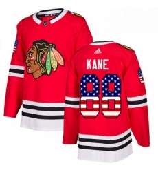Mens Adidas Chicago Blackhawks 88 Patrick Kane Authentic Red USA Flag Fashion NHL Jersey