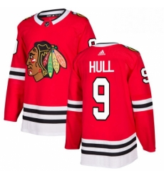 Mens Adidas Chicago Blackhawks 9 Bobby Hull Authentic Red Home NHL Jersey