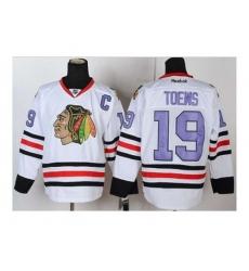 NHL Jerseys Chicago Blackhawks #19 Toews white[number purple][patch C]