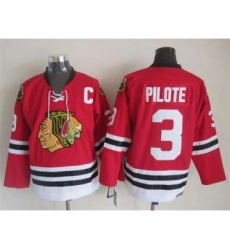nhl jerseys chicago blackhawks 3 pilote red[m&n][pilote][patch C]