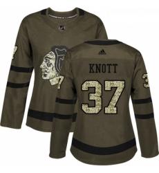 Womens Adidas Chicago Blackhawks 37 Graham Knott Authentic Green Salute to Service NHL Jersey