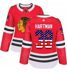 Womens Adidas Chicago Blackhawks 38 Ryan Hartman Authentic Red USA Flag Fashion NHL Jersey
