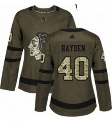 Womens Adidas Chicago Blackhawks 40 John Hayden Authentic Green Salute to Service NHL Jersey