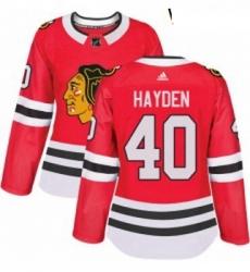 Womens Adidas Chicago Blackhawks 40 John Hayden Authentic Red Home NHL Jersey