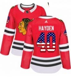 Womens Adidas Chicago Blackhawks 40 John Hayden Authentic Red USA Flag Fashion NHL Jersey
