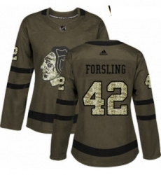 Womens Adidas Chicago Blackhawks 42 Gustav Forsling Authentic Green Salute to Service NHL Jersey