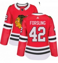Womens Adidas Chicago Blackhawks 42 Gustav Forsling Authentic Red Home NHL Jersey