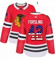 Womens Adidas Chicago Blackhawks 42 Gustav Forsling Authentic Red USA Flag Fashion NHL Jersey