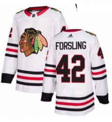Womens Adidas Chicago Blackhawks 42 Gustav Forsling Authentic White Away NHL Jersey