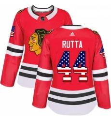 Womens Adidas Chicago Blackhawks 44 Jan Rutta Authentic Red USA Flag Fashion NHL Jersey
