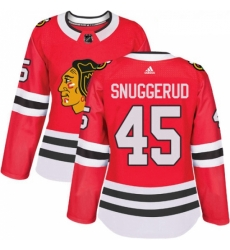 Womens Adidas Chicago Blackhawks 45 Luc Snuggerud Authentic Red Home NHL Jersey