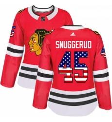 Womens Adidas Chicago Blackhawks 45 Luc Snuggerud Authentic Red USA Flag Fashion NHL Jersey