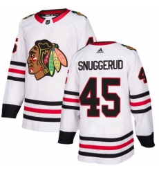 Womens Adidas Chicago Blackhawks 45 Luc Snuggerud Authentic White Away NHL Jersey