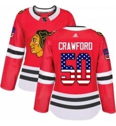 Womens Adidas Chicago Blackhawks 50 Corey Crawford Authentic Red USA Flag Fashion NHL Jersey