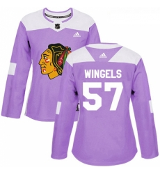 Womens Adidas Chicago Blackhawks 57 Tommy Wingels Authentic Purple Fights Cancer Practice NHL Jersey