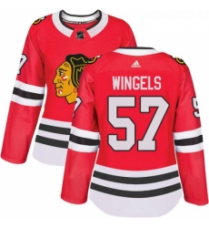 Womens Adidas Chicago Blackhawks 57 Tommy Wingels Authentic Red Home NHL Jersey