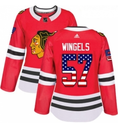 Womens Adidas Chicago Blackhawks 57 Tommy Wingels Authentic Red USA Flag Fashion NHL Jersey