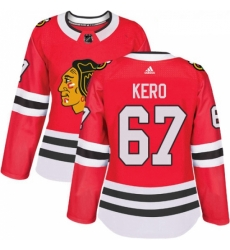 Womens Adidas Chicago Blackhawks 67 Tanner Kero Authentic Red Home NHL Jersey