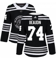Womens Adidas Chicago Blackhawks 74 Nicolas Beaudin Authentic Black 2019 Winter Classic NHL Jerse