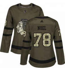 Womens Adidas Chicago Blackhawks 78 Nathan Noel Authentic Green Salute to Service NHL Jersey