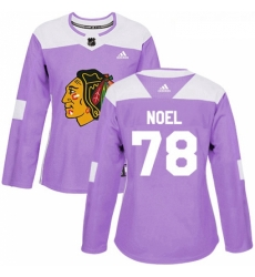 Womens Adidas Chicago Blackhawks 78 Nathan Noel Authentic Purple Fights Cancer Practice NHL Jersey