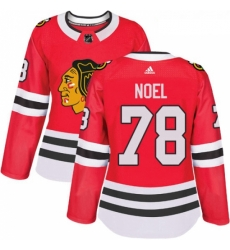 Womens Adidas Chicago Blackhawks 78 Nathan Noel Authentic Red Home NHL Jersey