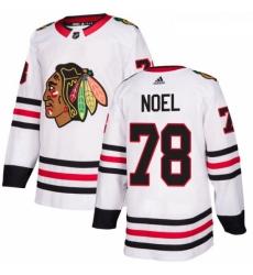 Womens Adidas Chicago Blackhawks 78 Nathan Noel Authentic White Away NHL Jersey