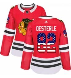 Womens Adidas Chicago Blackhawks 82 Jordan Oesterle Authentic Red USA Flag Fashion NHL Jersey