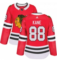 Womens Adidas Chicago Blackhawks 88 Patrick Kane Authentic Red Home NHL Jersey