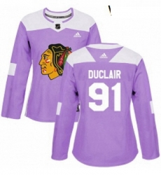 Womens Adidas Chicago Blackhawks 91 Anthony Duclair Authentic Purple Fights Cancer Practice NHL Jersey