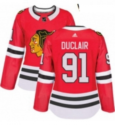 Womens Adidas Chicago Blackhawks 91 Anthony Duclair Authentic Red Home NHL Jersey