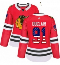 Womens Adidas Chicago Blackhawks 91 Anthony Duclair Authentic Red USA Flag Fashion NHL Jersey