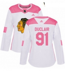 Womens Adidas Chicago Blackhawks 91 Anthony Duclair Authentic White Pink Fashion NHL Jersey