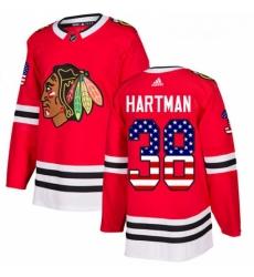 Youth Adidas Chicago Blackhawks 38 Ryan Hartman Authentic Red USA Flag Fashion NHL Jersey