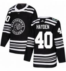 Youth Adidas Chicago Blackhawks 40 John Hayden Authentic Black 2019 Winter Classic NHL Jersey