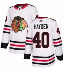 Youth Adidas Chicago Blackhawks 40 John Hayden Authentic White Away NHL Jersey