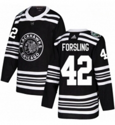 Youth Adidas Chicago Blackhawks 42 Gustav Forsling Authentic Black 2019 Winter Classic NHL Jersey
