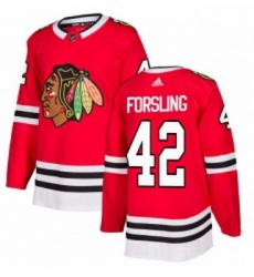 Youth Adidas Chicago Blackhawks 42 Gustav Forsling Authentic Red Home NHL Jersey