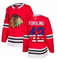 Youth Adidas Chicago Blackhawks 42 Gustav Forsling Authentic Red USA Flag Fashion NHL Jersey