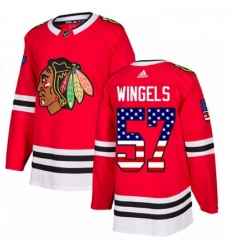 Youth Adidas Chicago Blackhawks 57 Tommy Wingels Authentic Red USA Flag Fashion NHL Jersey