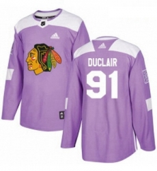 Youth Adidas Chicago Blackhawks 91 Anthony Duclair Authentic Purple Fights Cancer Practice NHL Jersey